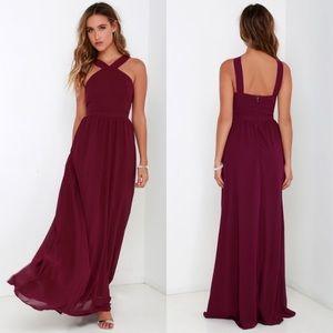Lulu's Air of Romance Halter Neck Maxi Dress L
